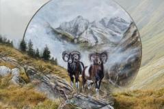 Giugno - Dipinto di Elvio De Pan, sfondo e composizione di Ariondo Schiocchet