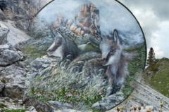 Agosto - Dipinto di Elvio De Pan, sfondo e composizione di Ariondo Schiocchet